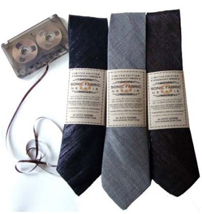 Chic and eco-friendly men's ties, made from recycled cassette tapes