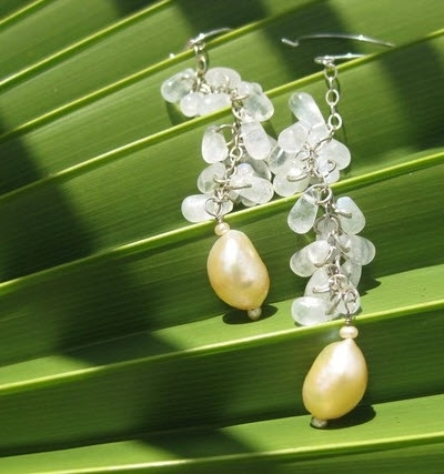 Gorgeous and green bridal or bridesmaids earrings made from recycled silver