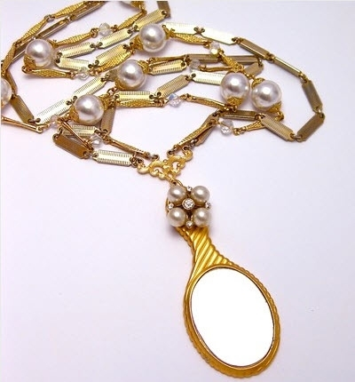 One-of-a-kind recycled gold and pearl necklace from EcoBLING, available on Etsy