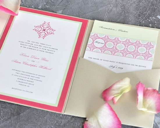 This coral wedding invitation with yellow accents is a modern approach to wedding invitations.