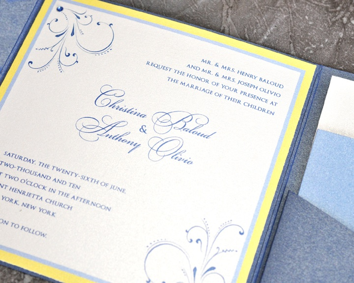 Blue And Yellow Wedding Invitations: This Blue And Yellow Wedding Invitation Shows How An