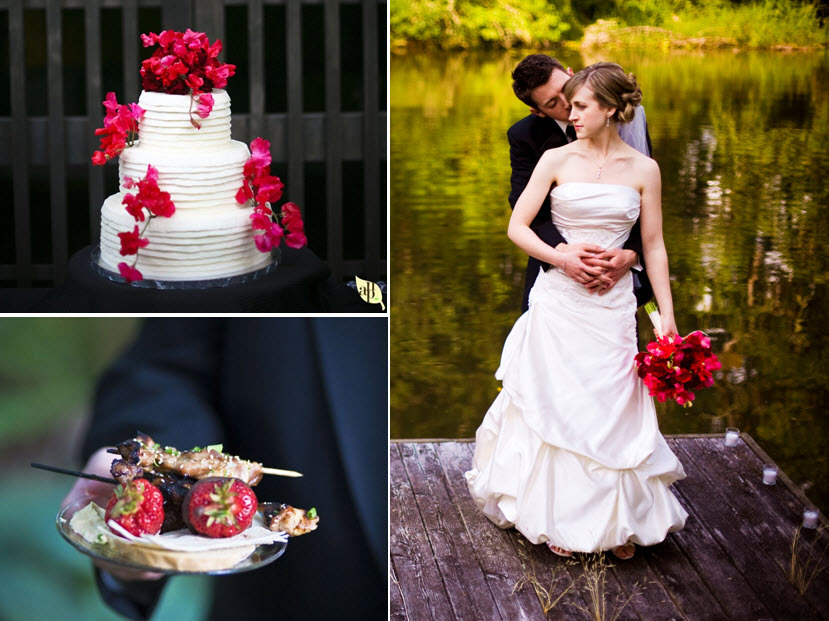 White-three-tier-wedding-cake-adorned-with-hot-pink-flowers-bride-in-ivory-strapless-wedding-dress.full