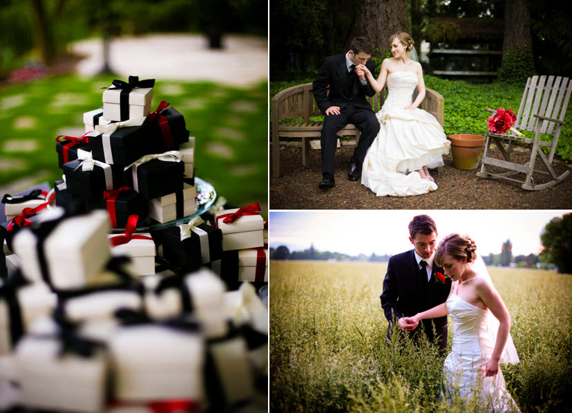 Black-white-red-favor-boxes-hot-pink-red-bridal-bouquet-groom-leads-beautiful-bride-through-field.full
