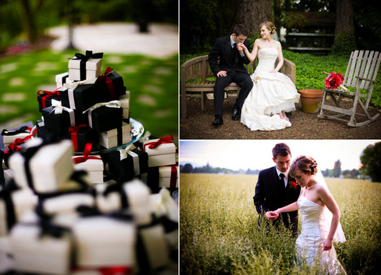 Black, white and red favor boxes filled with delicious truffles; groom kisses bride's hand