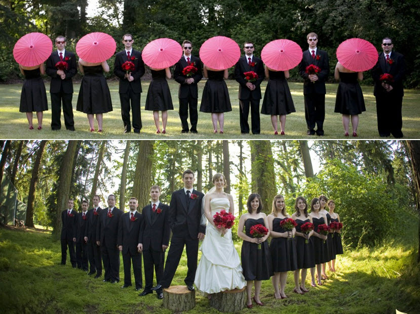 Entire Bridal Party Poses Together Bridesmaids Hold Hot Pink Parasols