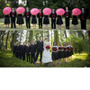 Hot-pink-black-red-outdoor-wedding-young-fun-vibe-pink-parasols-white-strapless-wedding-dress.square