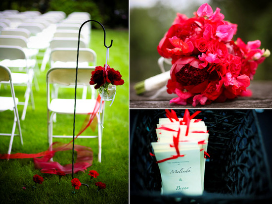 Vibrant hot pink and dark red bridal bouquet; white, black and red wedding programs