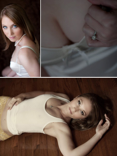 Young and beautiful bride-to-be poses for gorgeous boudoir photos- wears ivory satin lingerie, and w