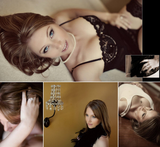 Bride-to-be in sensual boudoir photos- shows of diamond engagement ring, wears pearls