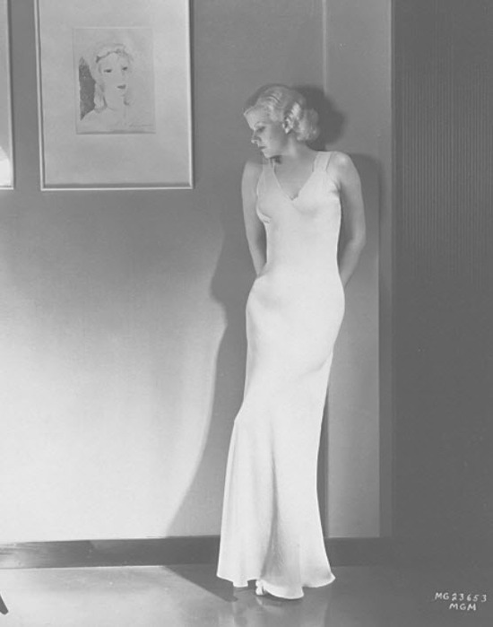 Jean Harlow in boudoir chic silhouette bias cut dress