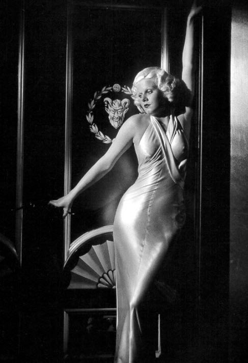 Jean Harlow in sexy, slinky, figure-hugging bias cut satin dress