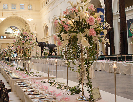 This beautiful wedding scene takes place at the Field Museum in Chicago.