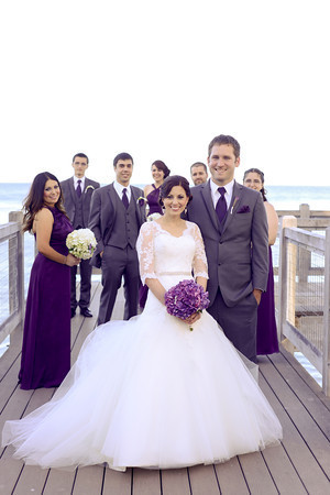 monterey beach wedding bride and groom with bridal party