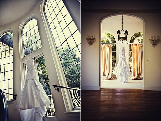Beautiful chic white mermaid wedding dress hangs in gorgeous arched windows