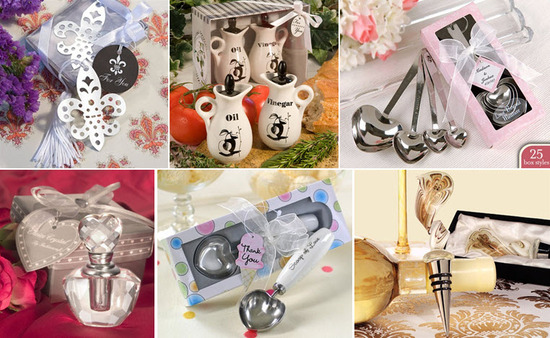 From bookmarks, to bottle stoppers, to crystal perfume bottles, there are perfect wedding favors for