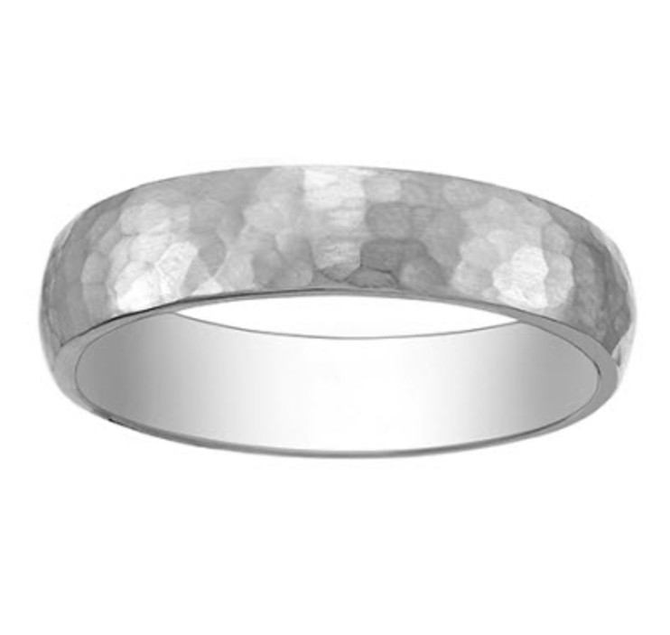 chic hammered silver mens wedding band for your groom