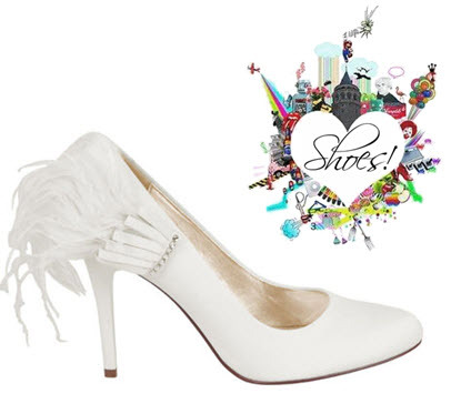 Stunning white bridal pumps from Nina with sassy feather
