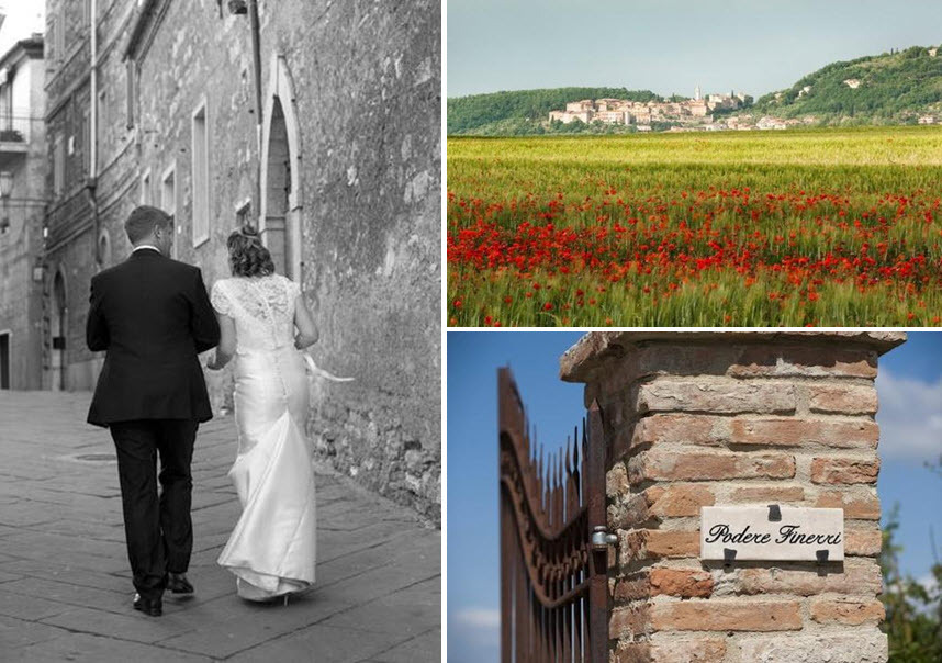 Bride-groom-walk-together-hand-in-hand-up-medieval-tuscan-street-gorgeous-green-red-field.full