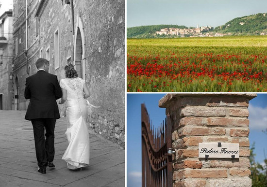 Tuscan countryside with its lush green fields and red flowers; bride and groom walk hand in hand up