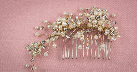 Gold Bridal Headpiece with Pearl Sprays
