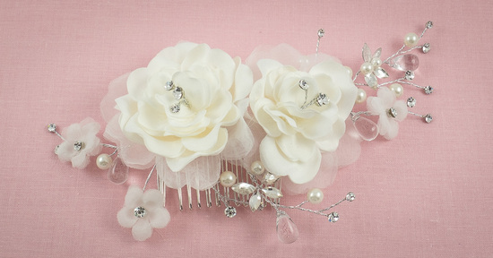 Bridal Headpiece with Roses and Rhinestone Sprays