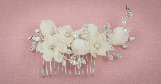 Bridal Headpiece with Flowers and Rhinestones