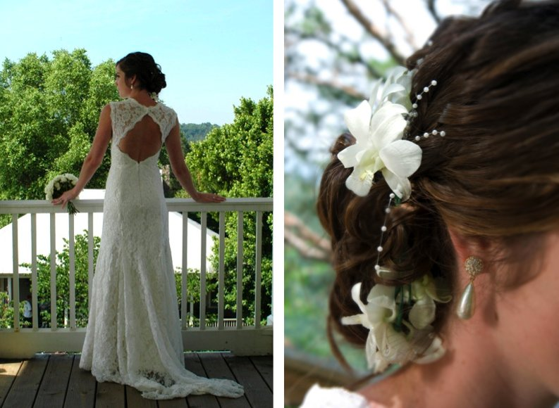 This wedding dress's cut out back is perfectly complimented by the bride's updo. Completing the look