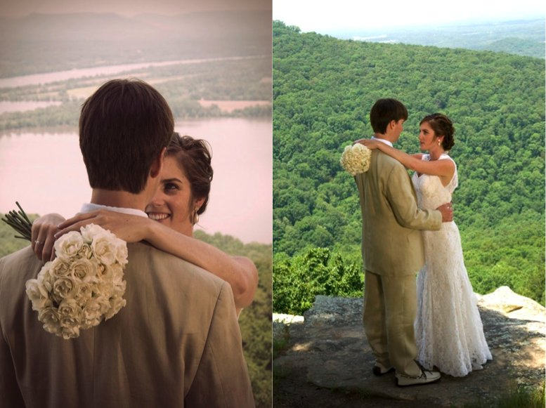 The bride's white dress and white rose bouquet are perfect with the groom's casual tan suit and the