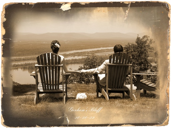 This photo of the bride and groom sitting in chairs overlooking the beach has a vintage postcard fee
