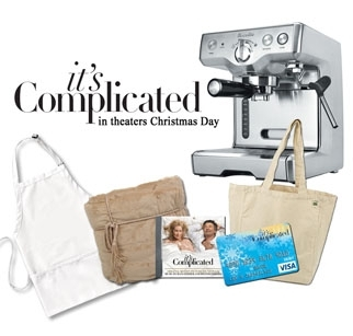 Win a $400 espresso machine, $500 Visa cash card, and It's Complicated swag by entering the contest