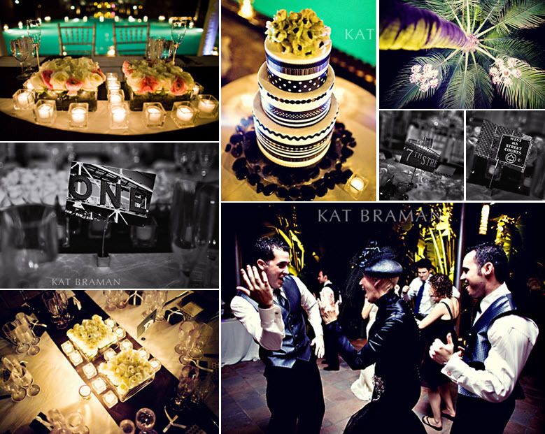 Kat-braman-miami-beach-wedding-wedding-details-tablescape-poolside-black-white-lime-green-modern-wedding-cake-palm-tree.full