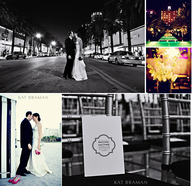 Kat-braman-miami-downtown-chic-wedding-black-pink-white-bride-groom-kiss-on-busy-street.full