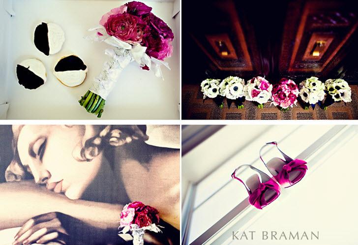 Kat-braman-miami-wedding-black-white-pink-artsy-modern-wedding-details-dark-pink-bridal-bouquet-pink-peep-toes-black-white-cookies.full