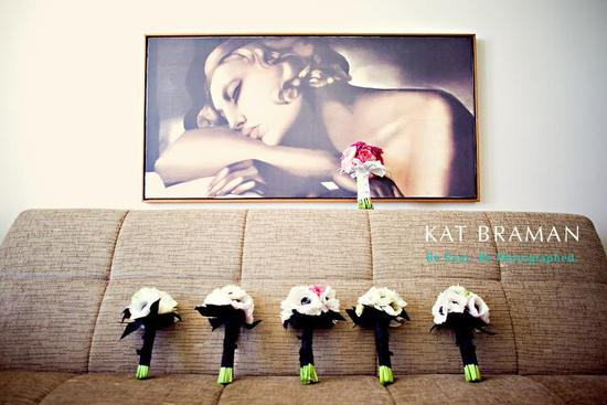 Artistic wedding photo taken in art deco district of Miami, FL- white, black and pink bridesmaids bo