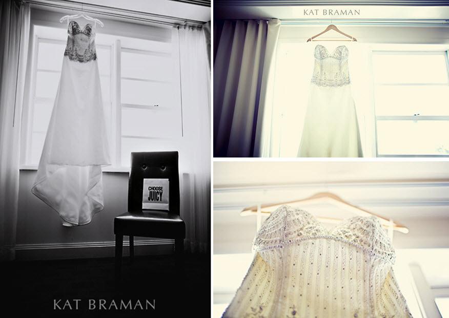 Kat-braman-miami-wedding-stunning-beaded-sweetheart-neckline-wedding-dress-hangs-in-window-black-and-white.full