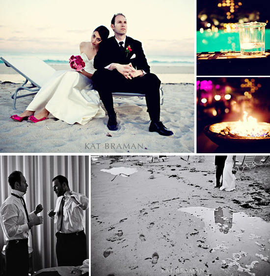 Bride in white strapless wedding dress, pink peep-toe bridal heels, sits with groom in formal black