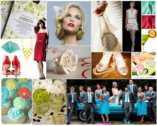 A Retro-inspired wedding, featuring bright red, aqua and lime green accessories and decor!