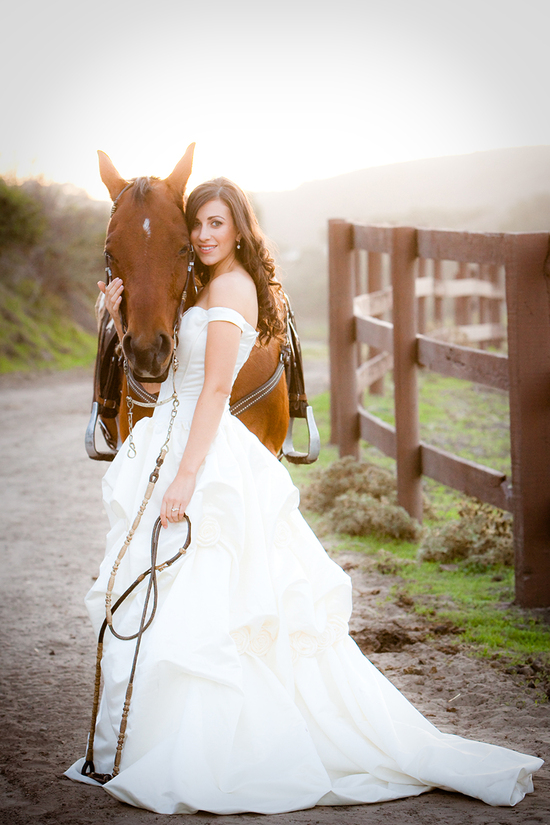 Equestrian Wedding Bride With Horse