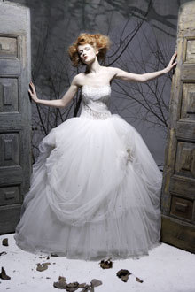 Whimsical strapless Amelia Casablanca ballgown wedding dress with tulle skirt
