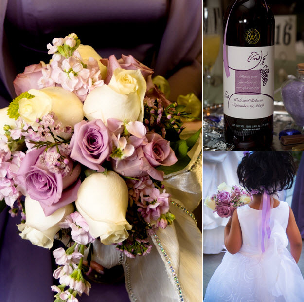 Wedding-detail-shot-lilac-lavender-ivory-bridal-bouquet-rhinestones-personalized-wine-bottles-as-favors.full