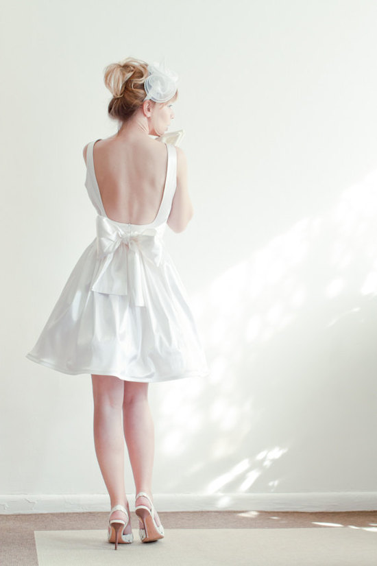 Open back bridal satin dress