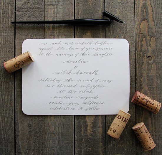 calligraphy wedding invitations - the knot
