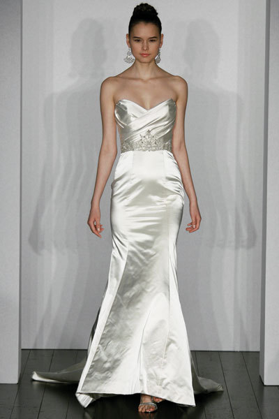 Kenneth Pool wedding dress- Sophisticate, satin trumpet gown with brooch applique and silver jewels