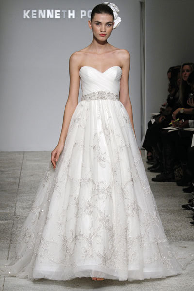 Kenneth Pool wedding dress- Flirtation with sweetheart neckline, empire beaded waist, and a-line tul