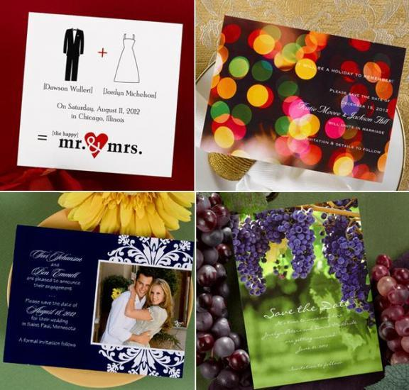 These four save the date cards all have a different feel, casual, funny, elegant and classic.