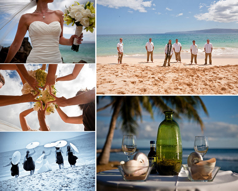 Groom Poses With Casual Groomsmen On The Maui Beach Bridesmaids Frolick In Sand Holding White