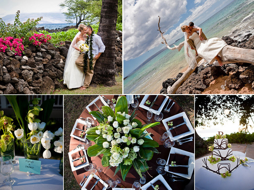 Bride and groom kiss under the Maui palm trees with beautiful bright pink flowers around them; gorge