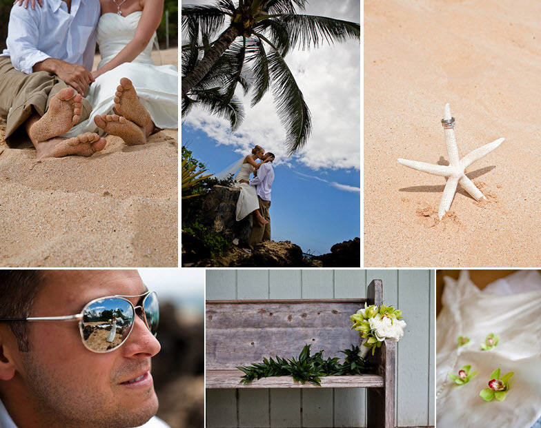 Tropical-maui-destination-wedding-on-beach-sand-starfish-with-wedding-bands-bride-groom-kiss-under-palm-tree.full
