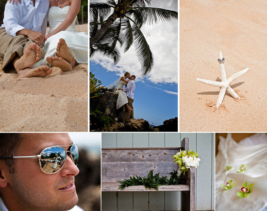 Casual bride and groom get close on the beach; wedding bands sit on white starfish in the sand