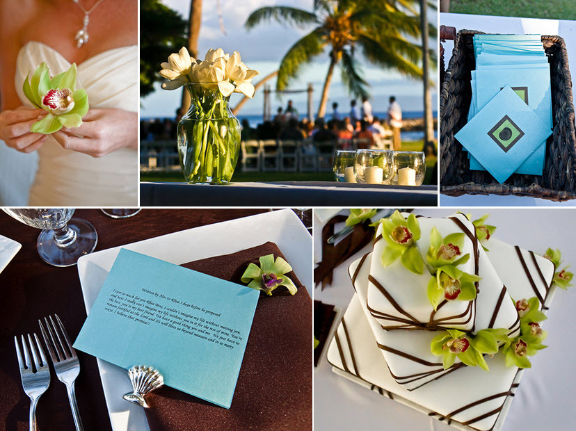 Tropical-maui-destination-wedding-aqua-green-chocolate-brown-wedding-programs-orchids-modern-white-wedding-cake.full